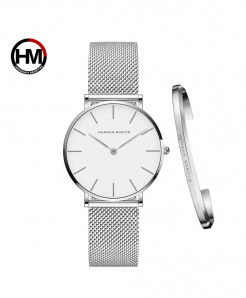 Hannah Martin Waterproof Full Silver Stainless Steel Mesh Ladies Watch
