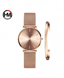 Hannah Martin Waterproof Full Rose Golden Stainless Steel Mesh Ladies Watch