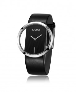DOM Black Leather Waterproof Ladies Watch LP-205