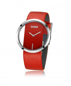 DOM Red Leather Waterproof Ladies Watch LP-205