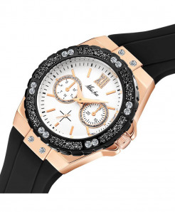 MISSFOX Black Chronograph Diamond  Rose Gold Ladies Sport Watch