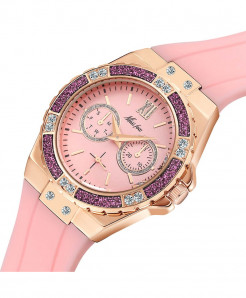 MISSFOX Purple Chronograph Diamond  Rose Gold Ladies Sport Watch