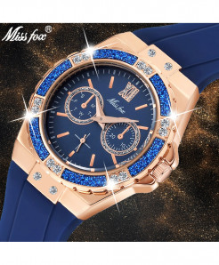 MISSFOX Blue Chronograph Diamond  Rose Gold Ladies Sport Watch