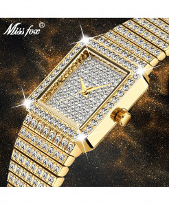 MISSFOX Diamond Golden Square Quartz Minimalist Ladies Watch