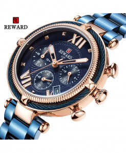 REWARD Blue Waterproof Quartz Stainless Steel Ladies Watch