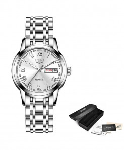 LIGE Silver Steel Bracelet Waterproof Ladies Watch