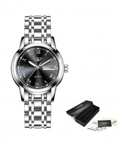 LIGE Silver Black Steel Bracelet Waterproof Ladies Watch