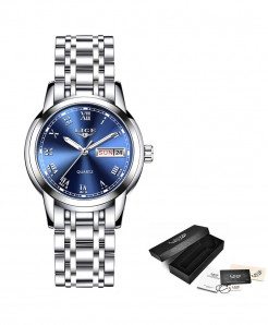 LIGE Silver Blue Steel Bracelet Waterproof Ladies Watch