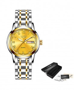LIGE Full Golden Steel Bracelet Waterproof Ladies Watch