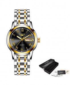 LIGE Golden Black Steel Bracelet Waterproof Ladies Watch
