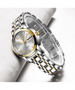 LIGE Golden White Steel Bracelet Waterproof Ladies Watch