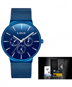 LIGE Super Slim Mesh Stainless Steel Quartz All Blue Ladies Watch