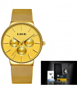 LIGE Super Slim Mesh Stainless Steel Quartz Ladies All Golden Watch