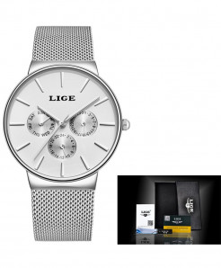 LIGE Super Slim Mesh Stainless Steel Quartz Ladies Silver White Watch