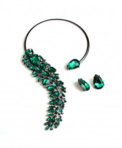 Green Rhinestones Crystals Chokers Necklace Jewelry Set