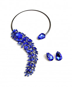 Blue Rhinestones Crystals Chokers Necklace Jewelry Set