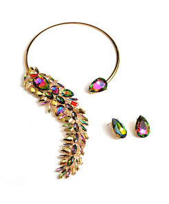 Multicolor Rhinestones Crystals Chokers Necklace Jewelry Set