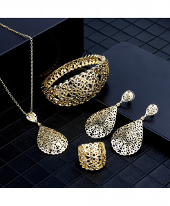 Sunspicems Golden Hollow Arab Bridal Jewelry Set