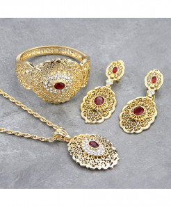 Sunspicems Red Golden Engraved Design Wedding Jewelry Set