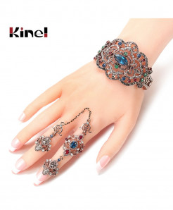 Kinel Golden Color Crystal Flower Double Finger Rings Bracelet