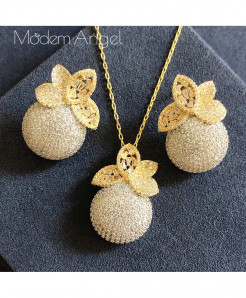 ModemAngel Golden Luxury Floral Balls Design Jewelry Set