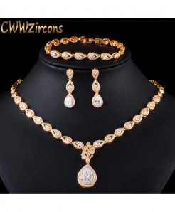 CWWZircons Cubic Zirconia Golden Water Drop Jewelry Set T402