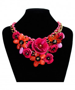 Pink Flower Gem Pendant Rope Woven Necklace