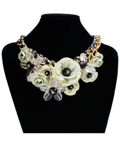White Flower Gem Pendant Rope Woven Necklace