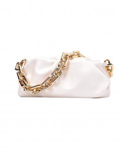 Kovenly Thick Chain White Cloud Bag Soft Leather Hobos Bag