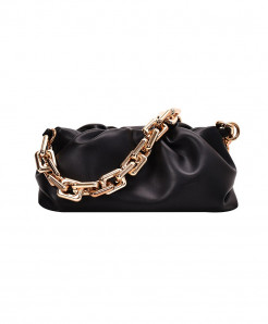 Kovenly Thick Chain Black Cloud Bag Soft Leather Hobos Bag