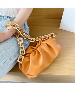 Kovenly Thick Chain Orange Cloud Bag Soft Leather Hobos Bag
