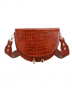 FH HERALD Red Semicircle Saddle Soft Leather Bag