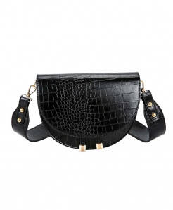 FH HERALD Black Semicircle Saddle Soft Leather Bag