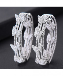 GODKI Silver Butterfly Cubic Zircon Statement Big Hoop Earrings