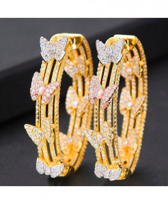 GODKI Golden Butterfly Cubic Zircon Statement Big Hoop Earrings