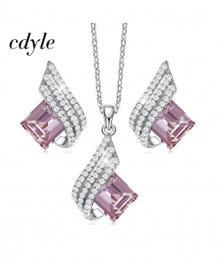 Cdyle 925 Sterling Silver Pink Zircon Jewelry Set