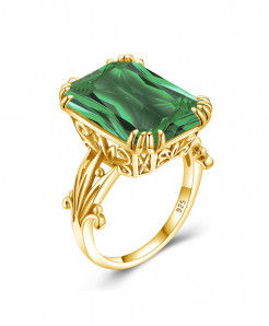 Green Emerald Gemstones 925 Sterling Silver Ring