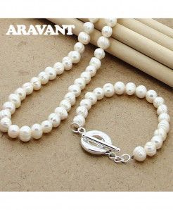 Aravant 925 Silver Simulated Pearl Jewelry Set