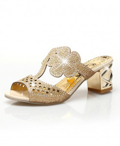 Lucyever Gold Toe Hollow Out Crystal Flip Flops