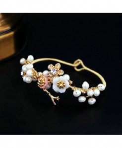 SINZRY White Pink Floral Handmade Pearl Charm bangle