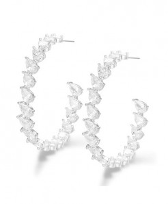 GODKI Silver Charms Micro Zircon Big Hoop Earrings