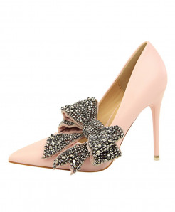 BIGTREE Pink Crystal Thin High Heels Butterfly-Knot Pointed Pumps