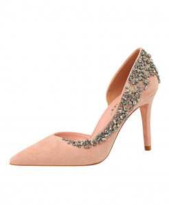 BIGTREE Pink Rhinestone Thin Heels High Heels Crystal Designer Pumps