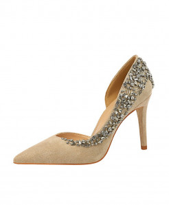 BIGTREE Khaki Rhinestone Thin Heels High Heels Crystal Designer Pumps