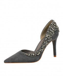 BIGTREE Gray Rhinestone Thin Heels High Heels Crystal Designer Pumps