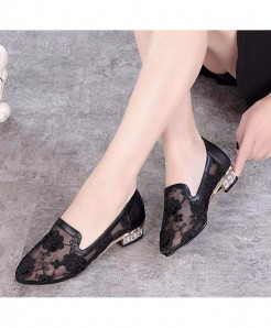 MCCKLE Black Low Heels Designer Pointed Toe Pumps
