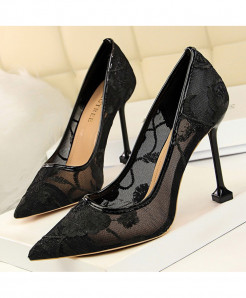 BIGTREE Black Mesh Hollow Floral Stiletto Extreme High Heels Pumps