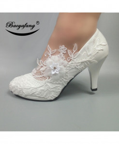 BaoYaFang White Flower High Heels Pumps