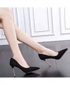 Black Elegant Classics Shallow Thin Heel Pointed High Heels Pumps