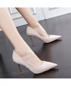 Apricot Color Elegant Classics Shallow Thin Heel Pointed High Heels Pumps